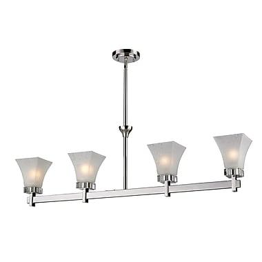 Z-Lite Pershing (319-4) - Luminaire de billard/Island à quatre lumières, 42 po x 5 po x 58,5 po, nickel poli
