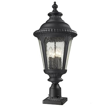 Z-Lite – Luminaire de pilier pour l'extérieur Medow (545PHB-BK-PM), 11,88 x 28 po, noir