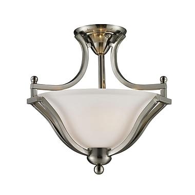 Z-Lite – Semi-plafonnier Lagoon (704SF-BN) à 2 lampes, 15 x 14,75 po, nickel brossé