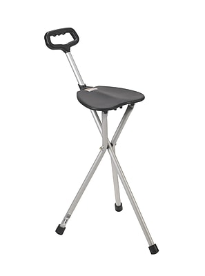 Drive Medical Folding Lightweight Cane Seat, Silver, Non Adjustable