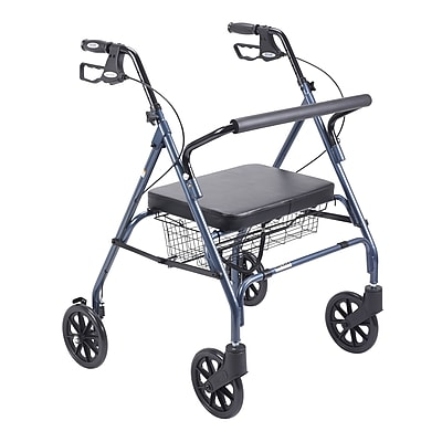 Drive Medical Heavy Duty Bariatric Rollator Walker with Padded Seat, Blue