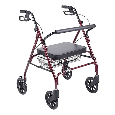 Drive Medical Heavy Duty Bariatric Rollator Walker with Padded Seat, Red