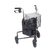 Drive Medical 3 Wheel Rollator Walker with Basket Tray and Pouch, Flame Red