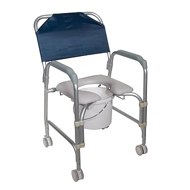 Drive Medical Lightweight Portable Shower Chair Commode with Casters (11114KD-1)