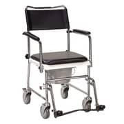 Drive Medical Portable Upholstered Wheeled Drop Arm Bedside Commode, Silver Vein