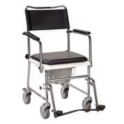 Drive Medical – Chaise percée portative, rembourrée, avec roues et accoudoirs rabattables, argent