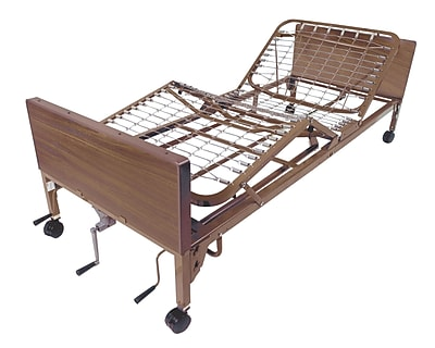 Drive Medical Multi Height Manual Hospital Bed, Full Rails, Foam Mattress
