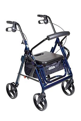 Drive Medical Duet Transport Wheelchair Rollator Walker, Blue