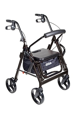 Drive Medical Duet Transport Wheelchair Rollator Walker, Black