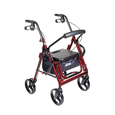 Drive Medical - Fauteuil de transport/rollator Duet, bordeaux