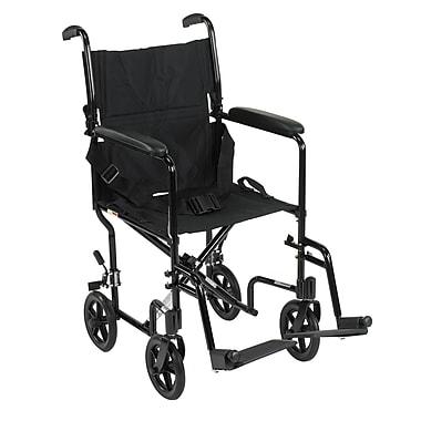 Drive Medical - Fauteuil de transport léger, noir, largeur d'assise de 17 po