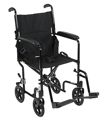 Drive Medical Lightweight Transport Wheelchair, Black, 17