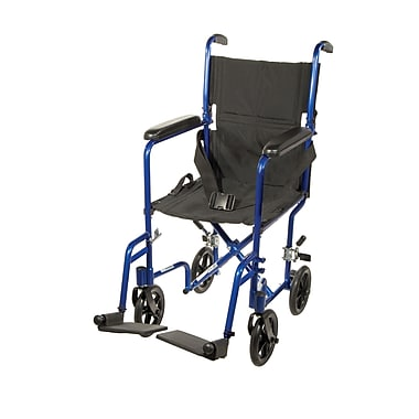 Drive Medical Lightweight Transport Wheelchair, Blue, 17