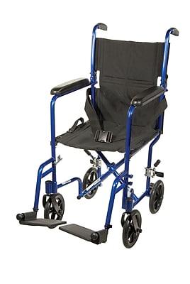 Drive Medical Lightweight Transport Wheelchair, Blue, 17