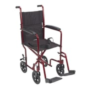 """Drive Medical Lightweight Transport Wheelchair, Red, 17"""" Seat"""