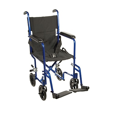 Drive Medical Lightweight Transport Wheelchair, Blue, 19