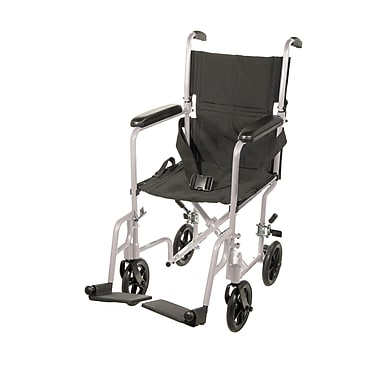 Drive Medical Lightweight Transport Wheelchair, Silver, 19