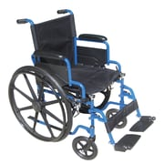 "Drive Medical Blue Streak Wheelchair with Flip Back Desk Arms, 20"" Seat, Swing Away Footrests"