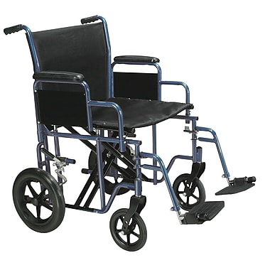 Drive Medical Bariatric Transport Wheelchair with Swing Away Footrest, Blue, 22