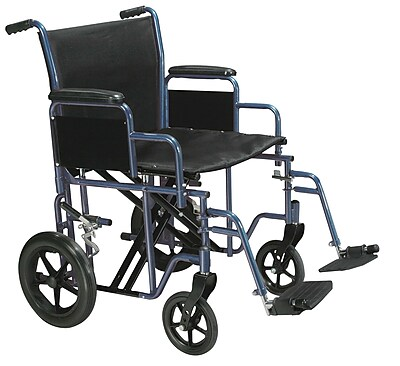 Drive Medical Bariatric Transport Wheelchair with Swing Away Footrest, Blue, 20