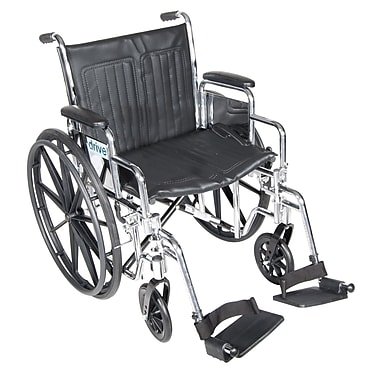 Drive Medical Chrome Sport Wheelchair, Detach Desk Arm, Footrest, 20