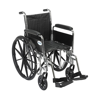 Drive Medical Chrome Sport Wheelchair, Detach Full Arm, Footrest, 16