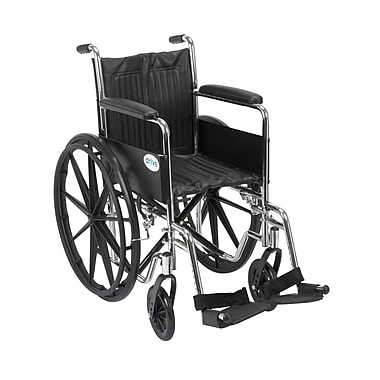 Drive Medical Chrome Sport Wheelchair, Fixed Full Arm, Footrest, 16