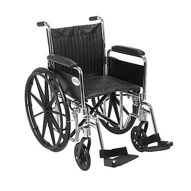 Drive Medical Chrome Sport Wheelchair, Detach Full Arm, Footrest, 18