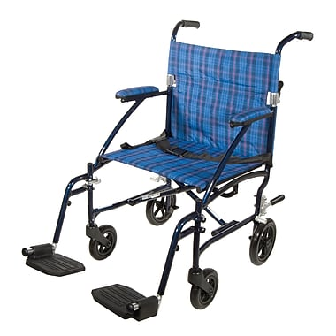 Drive Medical Fly Lite Ultra Lightweight Transport Wheelchair, Blue