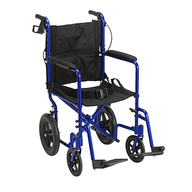 Drive Medical Expedition Transport Wheelchair with Hand Brakes, Blue