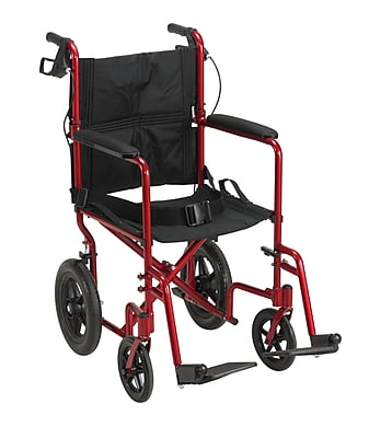 Drive Medical Expedition Transport Wheelchair with Hand Brakes, Red