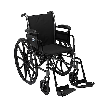 Drive Medical Cruiser III Wheelchair with Flip Back Removable Arms, Adj Desk Arms, Footrest, 18