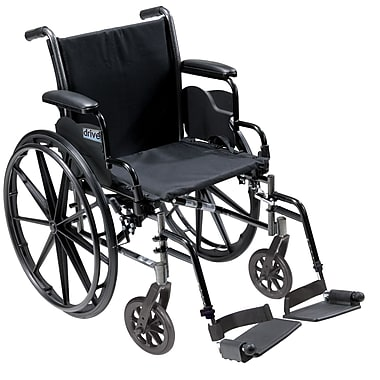 Drive Medical Cruiser III Wheelchair with Flip Back Removable Arms, Desk Arms, Footrest, 18