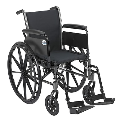 Drive Medical Cruiser III Wheelchair with Flip Back Removable Arms, Full Arms, Footrest, 20