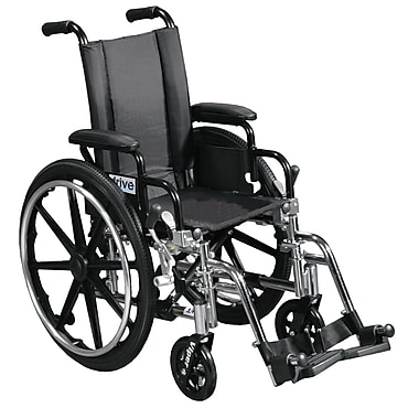 Drive Medical Viper Wheelchair with Flip Back Removable Arms, Desk Arms, Footrest, 12