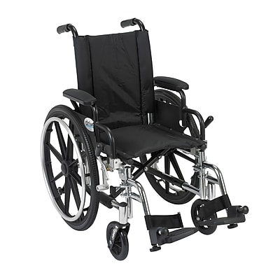 Drive Medical Viper Wheelchair with Flip Back Removable Arms, Desk Arms, Footrest, 14