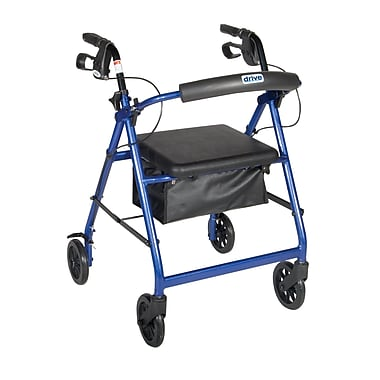 Drive Medical Rollator Walker with Back Support and Padded Seat, Blue