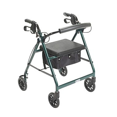 Drive Medical Rollator Walker with Back Support and Padded Seat, Green