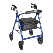 "Drive Medical Rollator Walker with Removable Back Support and Padded Seat, 7.5"" Wheels, Blue"