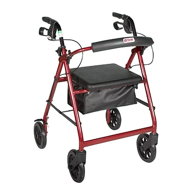 Drive Medical Rollator Walker with Removable Back Support and Padded Seat, 7. 5