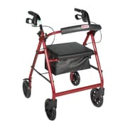"Drive Medical Rollator Walker with Removable Back Support and Padded Seat, 7.5"" Wheels, Red"
