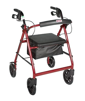 Drive Medical Rollator Walker with Removable Back Support and Padded Seat, 7.5