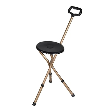 Drive Medical Folding Lightweight Cane Seat, Bronze, Adjustable Height