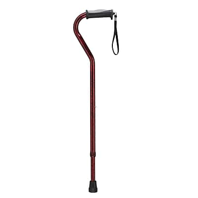 Drive Medical Adjustable Offset Handle Cane with Gel Hand Grip, Red Crackle
