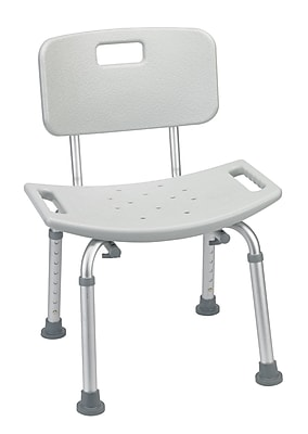 Drive Medical Bathroom Safety Shower Tub Bench Chair, With Back, Grey
