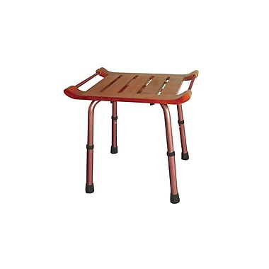 Drive Medical Adjustable Height Teak Bath Bench Stool, Rectangular