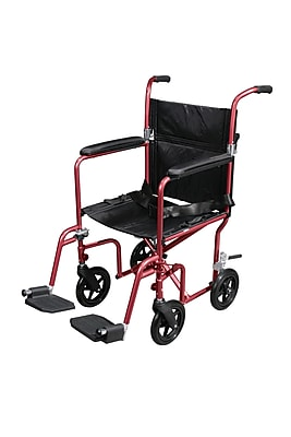 Drive Medical Flyweight Transport Wheelchair with Removable Wheels, Red