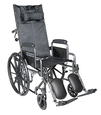 Drive Medical Silver Sport Reclining Wheelchair w/ Detachable Desk Length Arms and Legrest, Seat 16