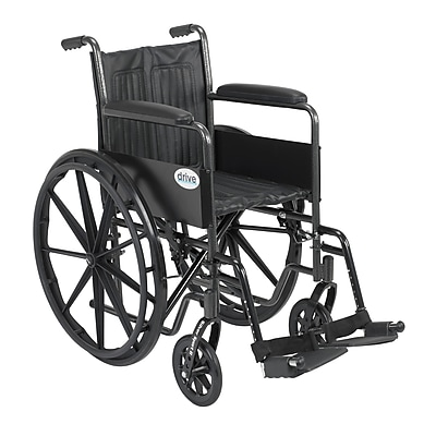 Drive Medical Silver Sport 2 Wheelchair, Fixed Arms, Footrest, 16