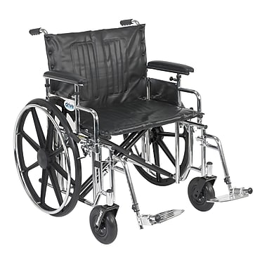 Drive Medical Sentra Extra Heavy Duty Wheelchair, Adjustable Full Arms, Footrest, 20